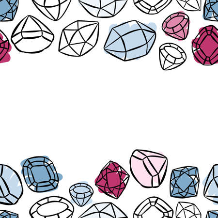 colorful beautiful shining crystals diamonds precious stones seamless horizontal double border on white background with place for your text Illustration
