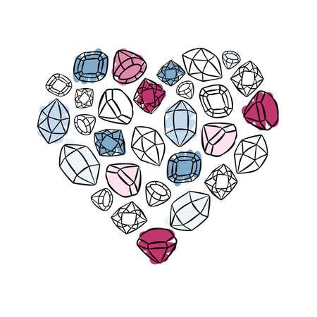 heart shaped colorful beautiful shining crystals diamonds precious stones beauty fashion illustration isolated elements on white background