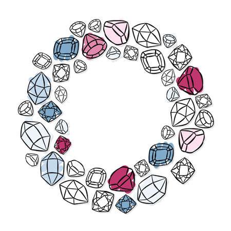 couronne en forme de cristaux brillants colorés beaux diamants pierres précieuses beauté illustration de mode éléments isolés sur fond blanc