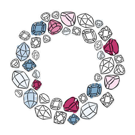 wreath shaped colorful beautiful shining crystals diamonds precious stones beauty fashion illustration isolated elements on white background