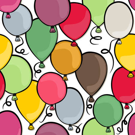 flying colorful balloons party time seamless pattern on white background Vector
