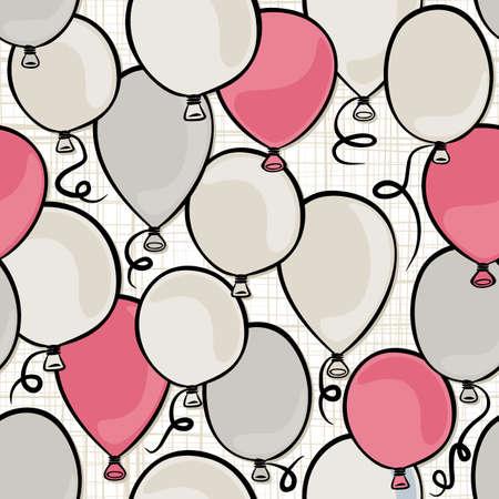 party time: la f�te volant de rose color� et ballons gris seamless sur fond blanc