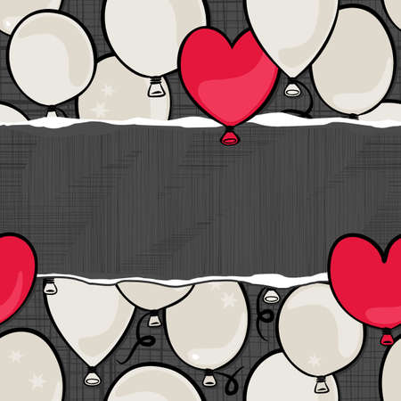flying colorful gray and red round and heart shaped balloons party time seamless pattern on dark background with blank horizontal torn piece of paper with place for your text  Vector