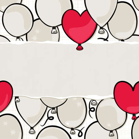flying colorful gray and red round and heart shaped balloons party time seamless pattern on white background with blank horizontal torn piece of paper with place for your text  Vector