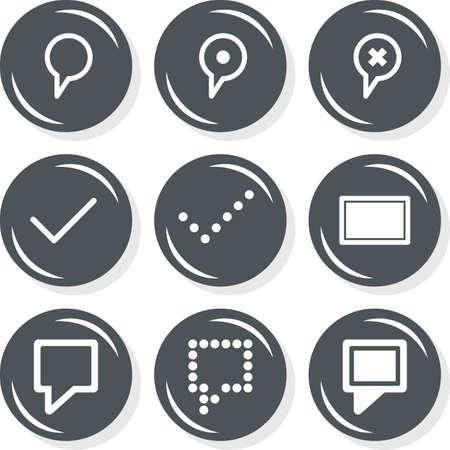 destination description mark internet database web connection gray monochrome round button set isolated on white background  Illustration