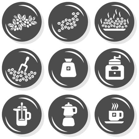grind: branch seeds grind grinder pot coffee time cafe drink related button set isolated on white background  Illustration