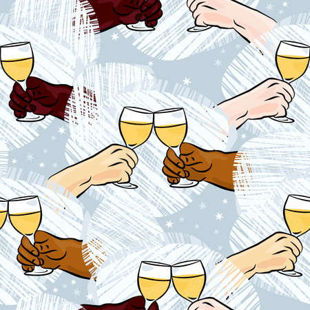 many different human hands with glasses of champagne making toast colorful party holiday seamless pattern on blue background