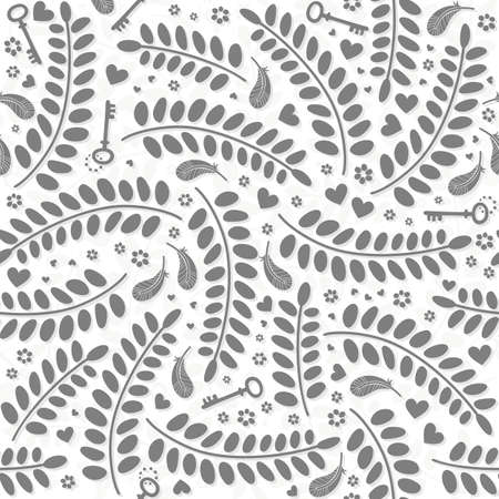 monochrome little hearts flowers leaves keys and feathers delicate lovely messy elements on white background romantic wedding engagement Valentine s Day seamless pattern  Vector
