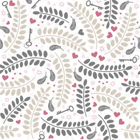colorful little hearts flowers leaves keys and feathers delicate lovely messy elements on white background romantic wedding engagement Valentine s Day seamless pattern