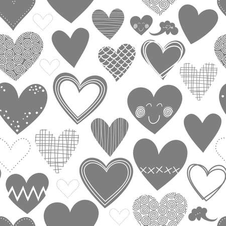 beautiful monochrome different shaped hearts Valentines Day lovely romantic marriage engagement seamless pattern