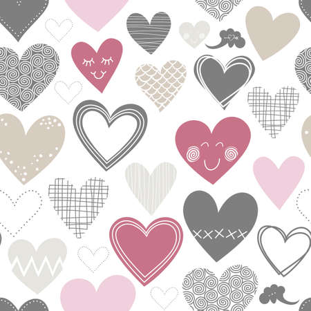 beautiful colorful different shaped hearts Valentines Day lovely romantic marriage engagement seamless pattern  Vector