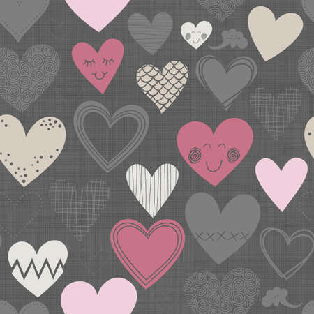 beautiful colorful different shaped hearts on dark patterned Valentines Day lovely romantic marriage engagement seamless pattern  Vector