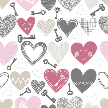 beautiful colorful different shaped hearts and vintage keys on white background Valentines Day lovely romantic marriage engagement seamless pattern  Vector