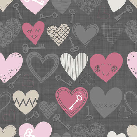 beautiful colorful different shaped hearts and vintage keys on dark background Valentines Day lovely romantic marriage engagement seamless pattern  Illustration