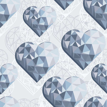 messy hearts blue crystal diamond shaped elements on light gray background love romantic valentines day seamless pattern Vector