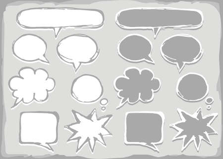 monochrome hand drawn different shapes blank speech bubble set isolated on light background with place for your text Vector