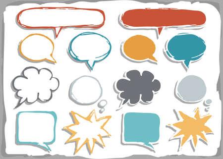 converse: bunte Hand gezeichnete verschiedenen Formen leere Sprechblase isoliert auf wei�em Hintergrund mit Platz f�r Ihren Text Illustration