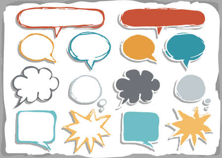 colorful hand drawn different shapes blank speech bubble set isolated on white background with place for your text