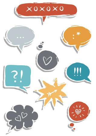 hintergrund liebe: bunte Hand gezeichnete Sprechblasen mit Zeichen auf wei�em Hintergrund Liebe Kommunikationsset