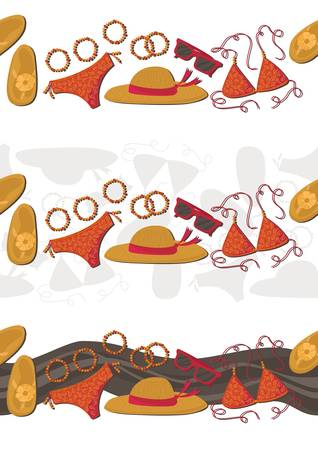 bikini hut sunglasses bracelets flip flops summer outfit isolated illustration elements seamless horizontal border set Vector