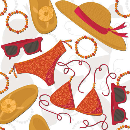 bikini hut sunglasses bracelets flip flops summer outfit illustration elements on white background seamless pattern Vector