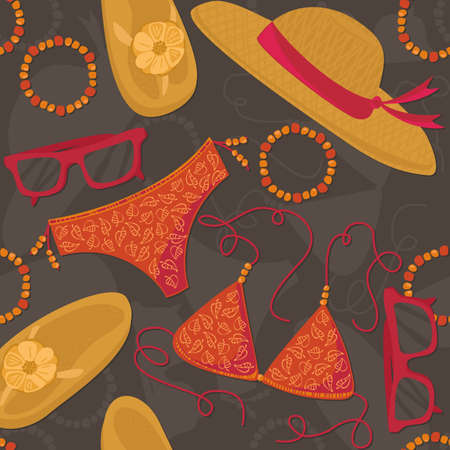 bikini hut sunglasses bracelets flip flops summer outfit illustration elements on dark background seamless pattern Vector