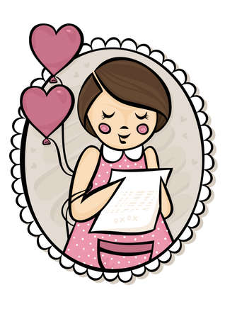 Little girl reading a letter with a heart shaped balloons in a frame love Vector