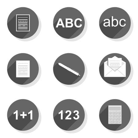round gray flat modern icon set isolated on white background Stock Vector - 26033748