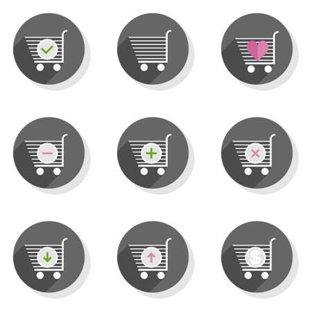 give and take: Shopping trolley full empty add pay take give back round gray flat modern icon set isolated on white background