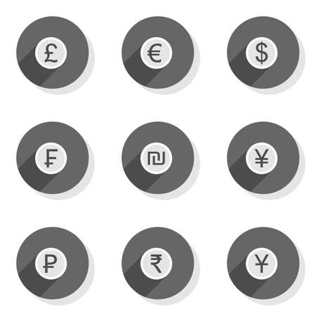 Currency set round gray flat modern icon set isolated on white background Vector