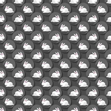 fond sombre: Petits lapins blancs sur des points gris en rang�es r�guli�res P�ques ressort saisonnier plat mod�le moderne transparente sur fond sombre Illustration