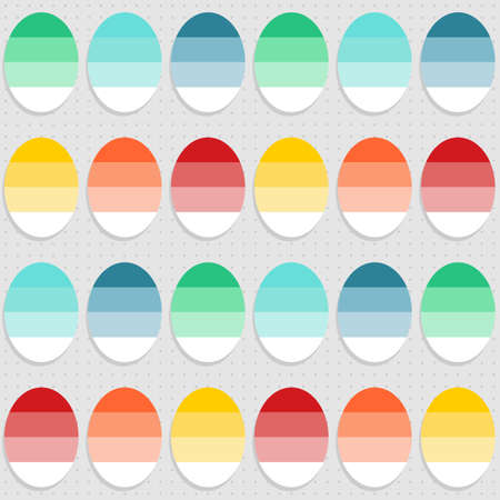 Flat colorful dyed eggs spring Easter time on gray dotted background seasonal holiday seamless pattern Vector