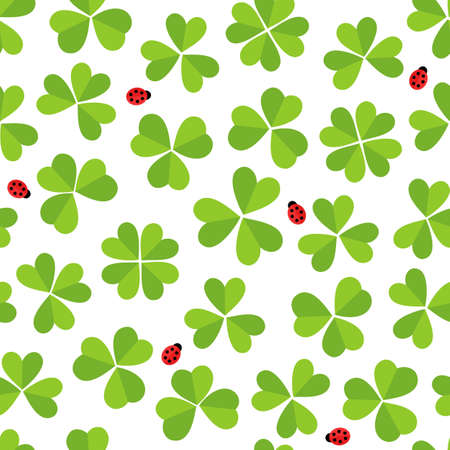 shamrock seamless: Green clover meadow with little ladybirds shamrock St Patrick Day holiday spring seamless pattern on white background  Illustration
