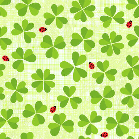 Green clover meadow with little ladybirds shamrock St Patrick Day holiday spring seamless pattern on light green background  Vector