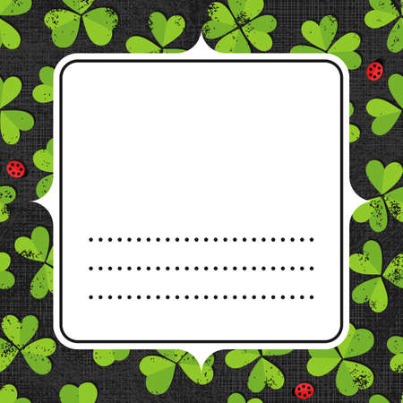 shamrock seamless: White blank retro frame with place for your text on green clover meadow with little ladybirds shamrock St Patrick Day holiday spring seamless pattern on dark gray background  Illustration