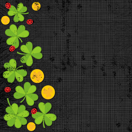 Green clover meadow with little ladybirds and golden coins shamrock St Patrick Day holiday spring seamless vertical border on dark gray background  Vector