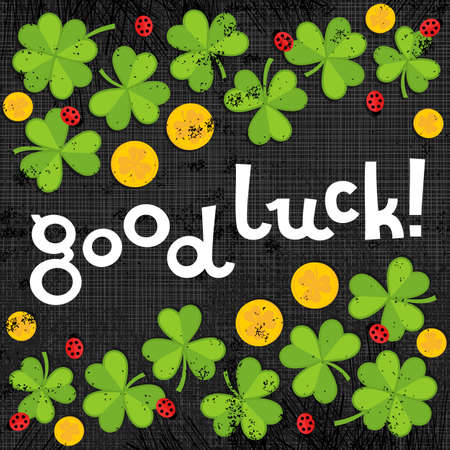 Good luck wishes on green clover meadow with little ladybirds and golden coins shamrock St Patrick Day holiday spring card illustration on dark gray background  Vector