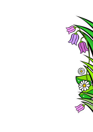 side border: Spring flowers wild meadow right side border wedding stationery card invitation background with white blank place for your text