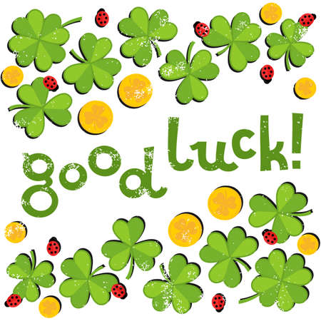 Good luck wishes on green clover meadow with little ladybirds and golden coins shamrock St Patrick Day holiday spring card illustration on white background Illustration