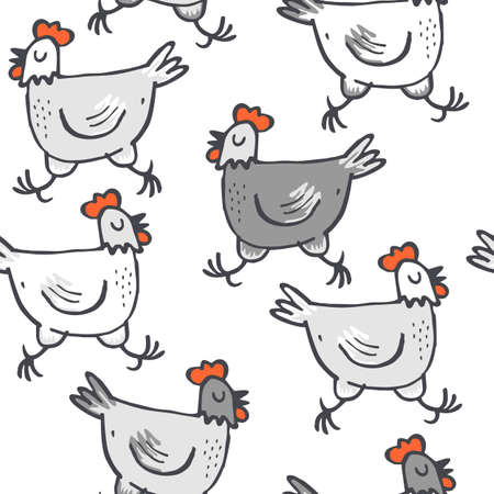 wit grijs kippen lopen dieren wilde dieren naadloze patroon op een witte achtergrond