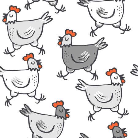 Wit grijs kippen lopen dieren wilde dieren naadloze patroon op een witte achtergrond Stockfoto - 27119402