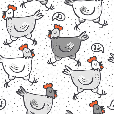 White gray singing hens run animals wildlife seamless pattern on white dotted background Vector