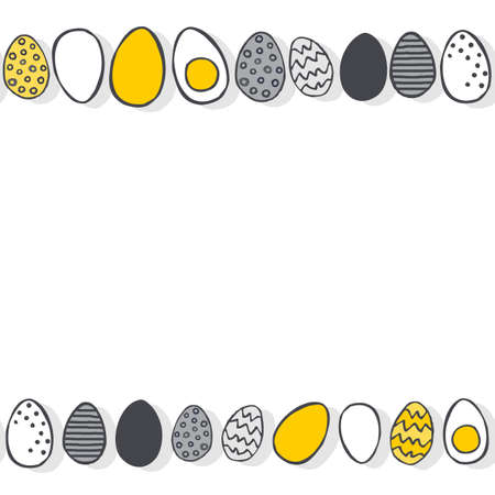 Hand painted eggs in rows yellow gray Easter illustration spring holiday seamless double horizontal border on white background Vector