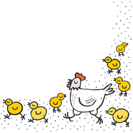 Little yellow chickens with mum white hen spring holiday Easter illustration on white dotted background with blank place for your text Stock Vector - 27119424