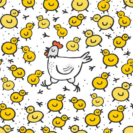 Little yellow chickens with mum white hen spring holiday Easter illustration on white dotted background seamless pattern Stock Vector - 27119425