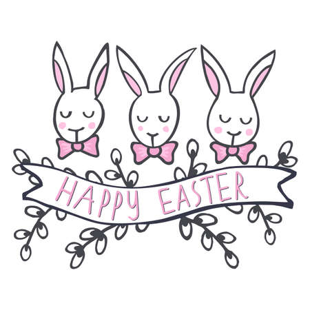 lapin blanc: Lapins blancs dans la rangée Happy Easter printemps Pâques pièce maîtresse de vacances illustration isolé sur fond blanc Illustration