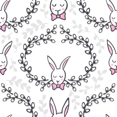 White elegant bunny in willow wreath animal spring holiday Easter seamless pattern on white background Vector