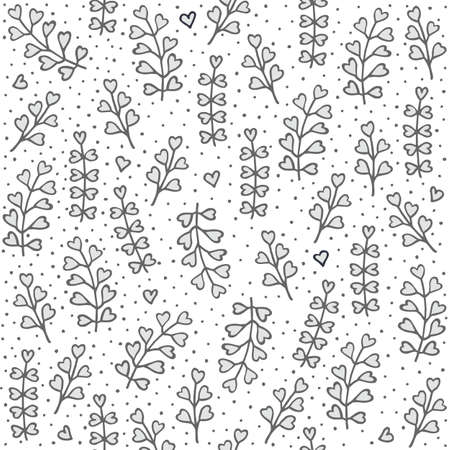 heart shaped leaves: Monochrome gray and white little heart shaped leaves and hearts messy natural floral hand drawn illustration elements on white dotted background seamless pattern Illustration