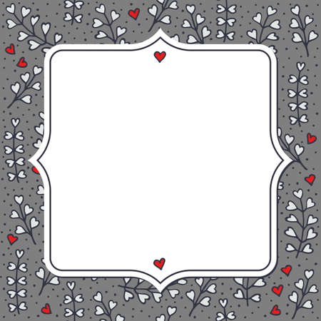 heart shaped leaves: Colorful gray red white little heart shaped leaves and hearts messy natural floral hand drawn illustration elements on gray dotted background with blank retro frame greeting card Illustration