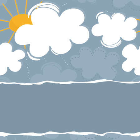 Sunny spring summer day with messy delicate white and blue clouds and yellow sun on beautiful sky on blue background horizontal border with blank torn paper with place for your text Vector